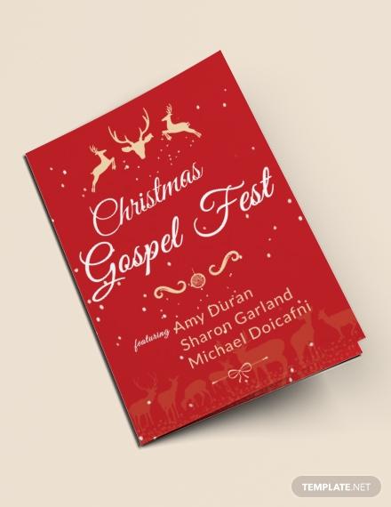 christmas fest bi fold brochure template