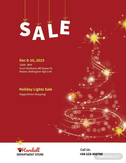 christmas lights sale flyer template