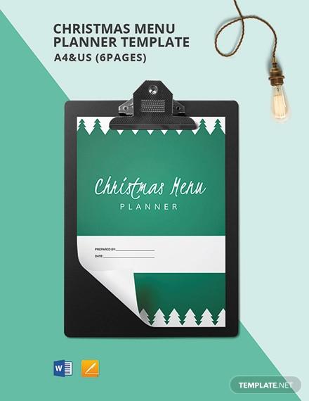 christmas menu planner template