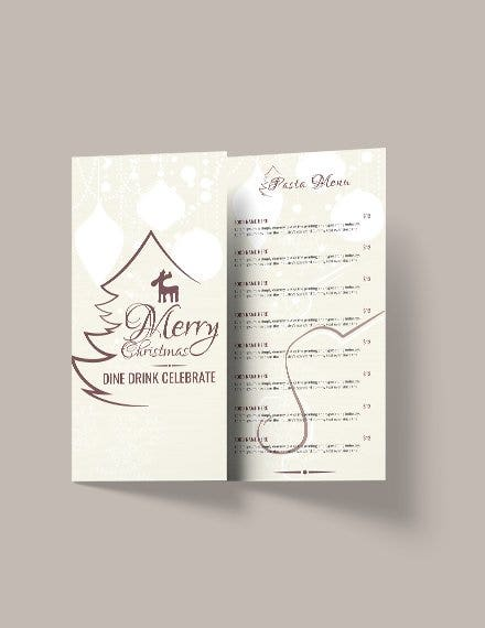 christmas restaurant menu brochure template