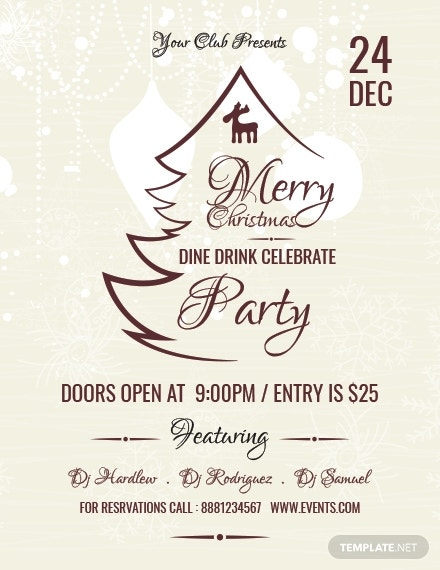 christmas restaurant poster template in pages