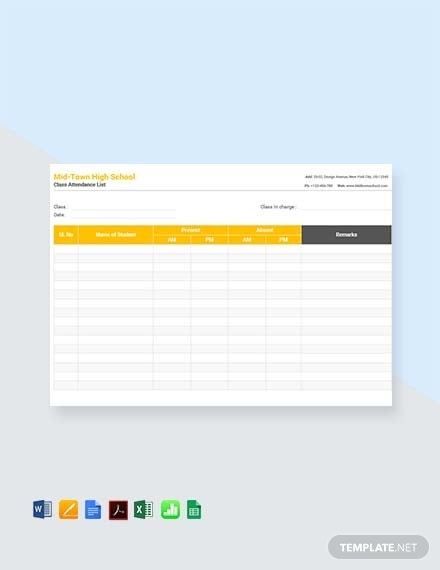 class attendance list template1