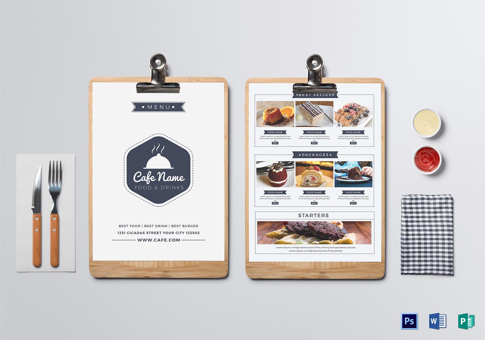 club cafe food menu layout