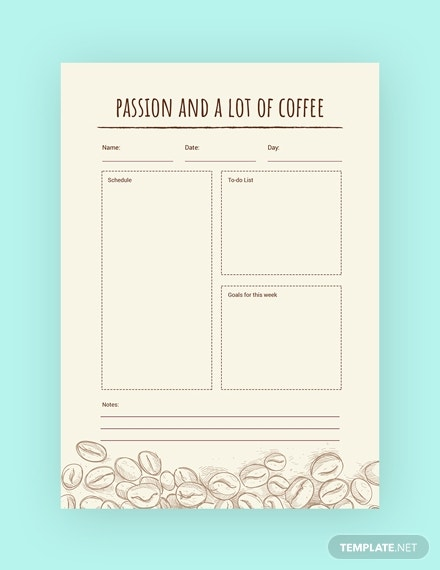 coffee journal template in psd