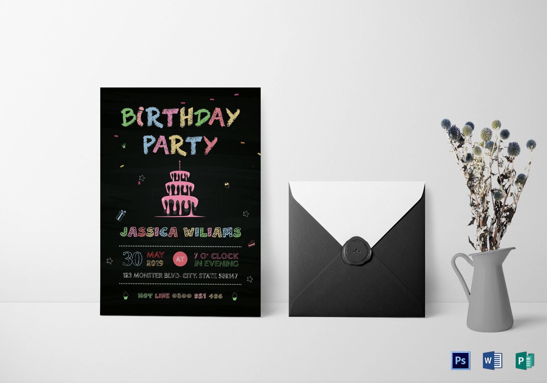 colorful chalkboard birthday invitation template