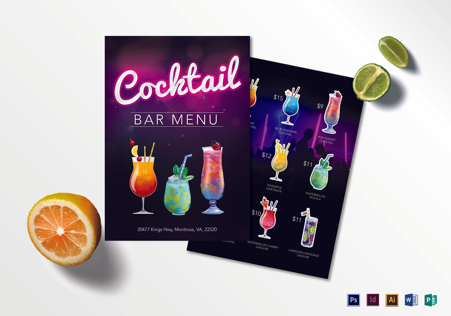 colorful cocktail bar menu format