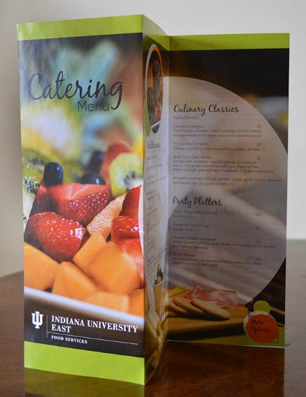 colorful food catering menu sample