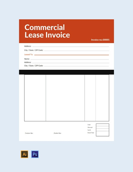 commercial lease invoice
