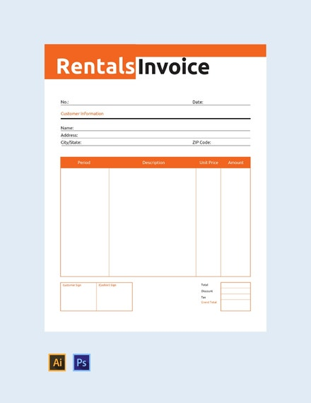 commercial rental invoice