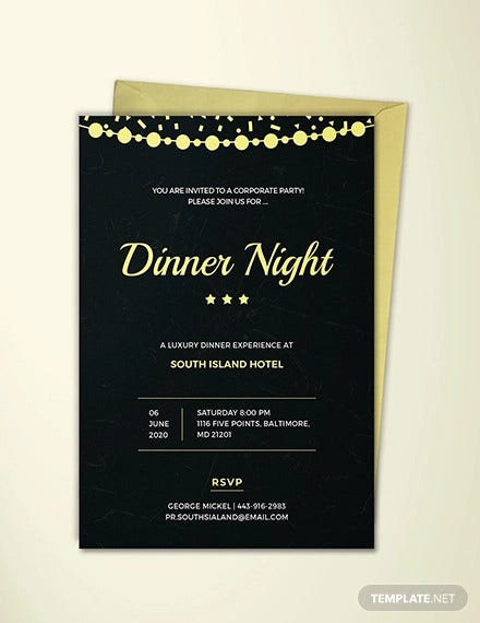 company dinner night invitation