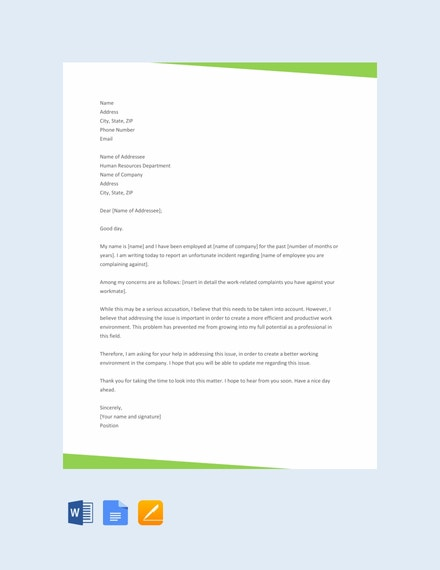 complaint letter to hr