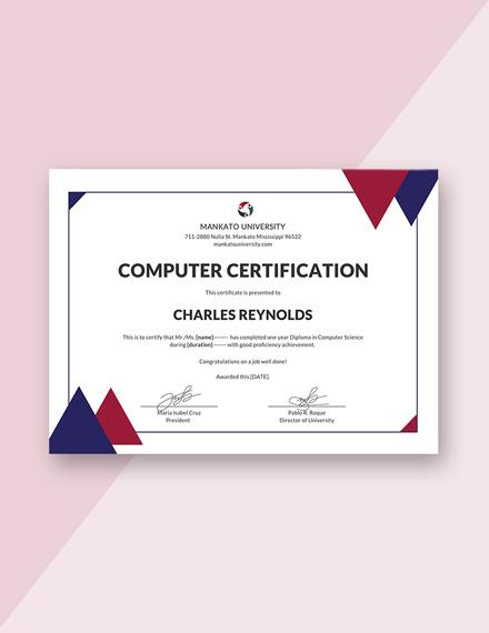 computer diploma certificate m1x