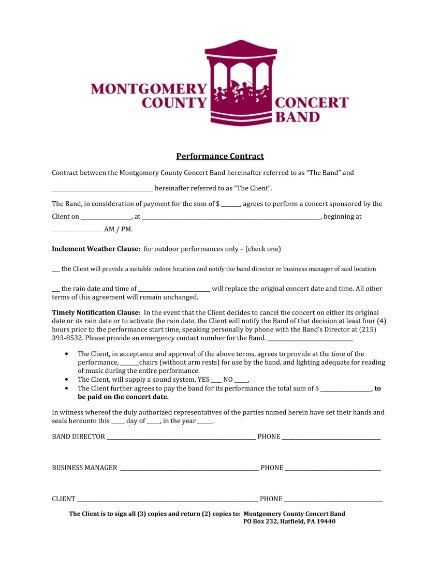 concert band contract example