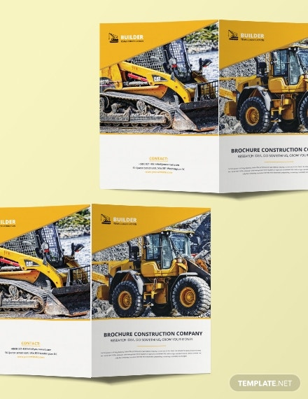 construction equipment bifold brochure layout