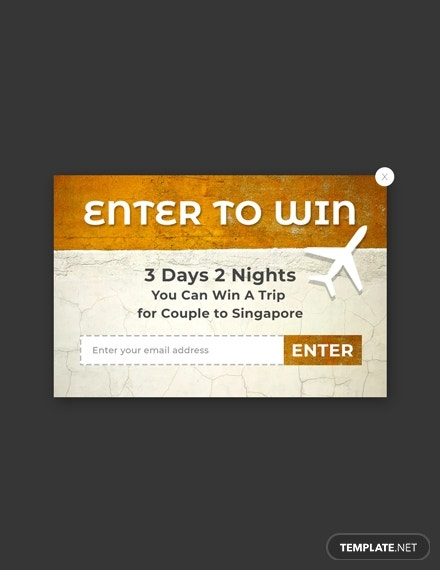 contest pop up marketing template psd