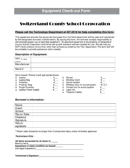 county school equipment checkout sheet example