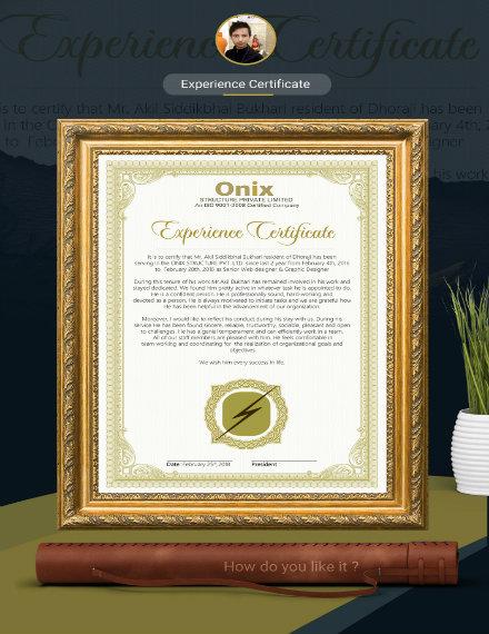 creative experience certificate