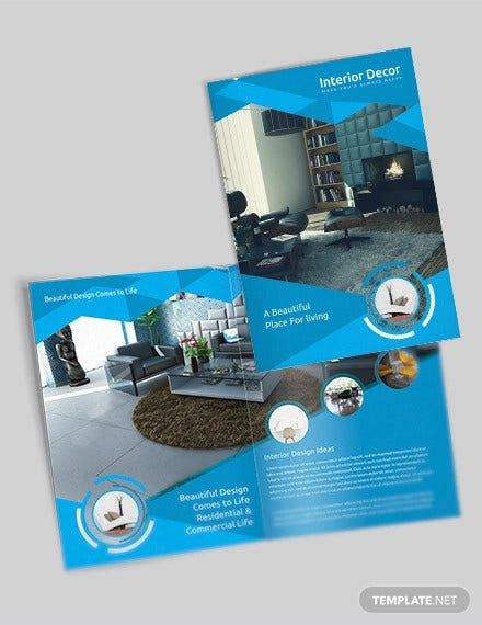 creative interior decor bi fold brochure template