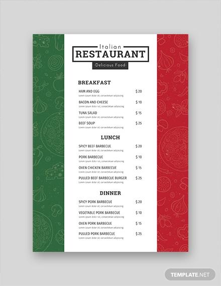 creative italian flag menu template