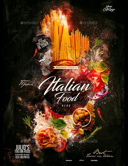 creative italian food menu example