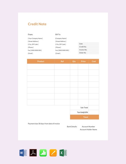 credit note sample template