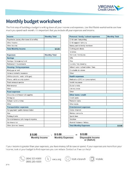 credit union monthly budget worksheet