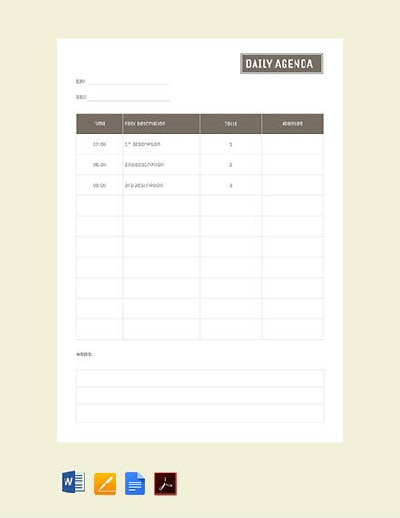 daily agenda template