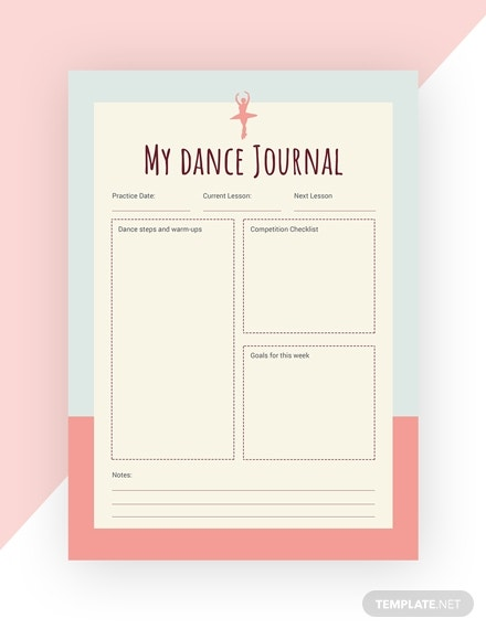 dance journal template in psd