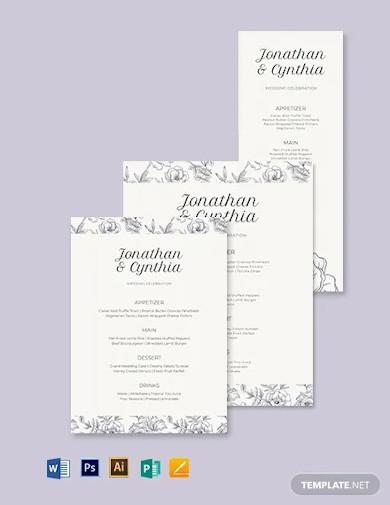 dinner wedding menu template