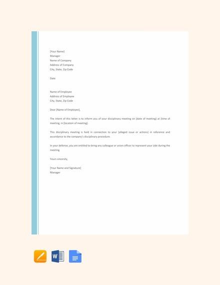disciplinary reminder letter