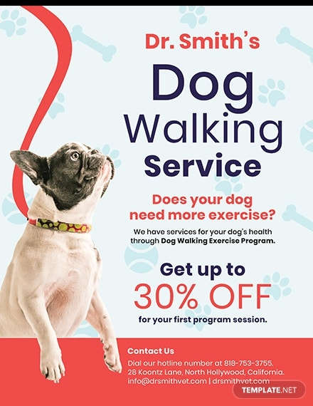 dog walking service flyer template