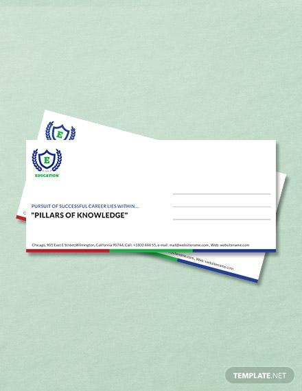 education envelope template in word