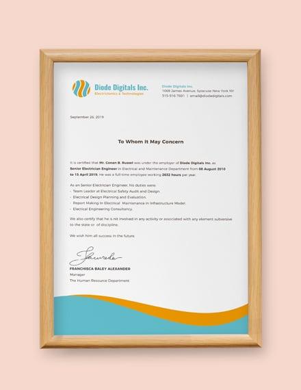 electrician experience certificate