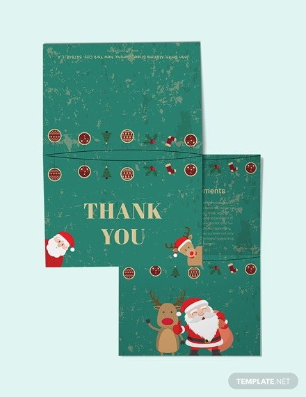 elegant christmas thank you card template