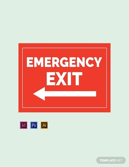 emergency sign template psd