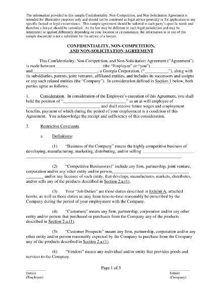 employee non compete and non solicitation agreement sample