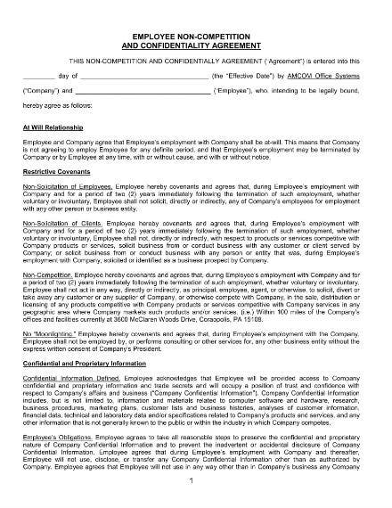 employee non competition and confidentiality agreement sample