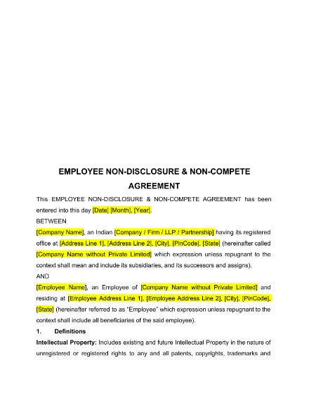 employee non disclosure and non compete agreement example
