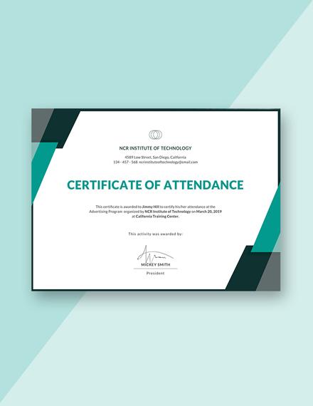event certificate attendance