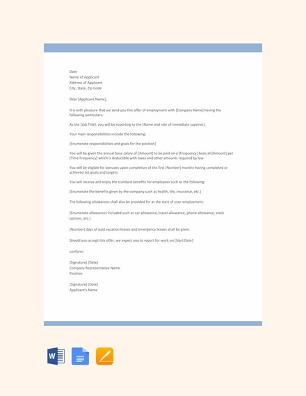 executive job offer letter