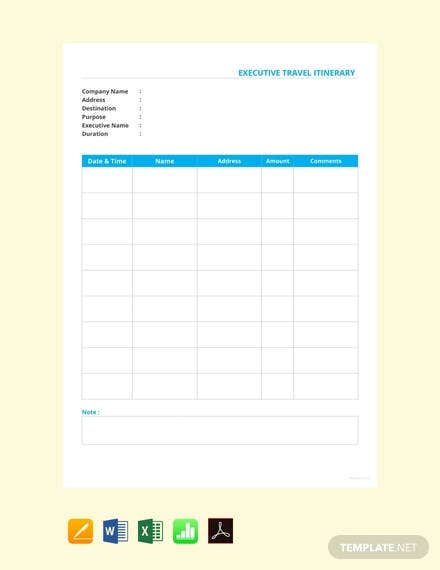 executive travel itinerary template