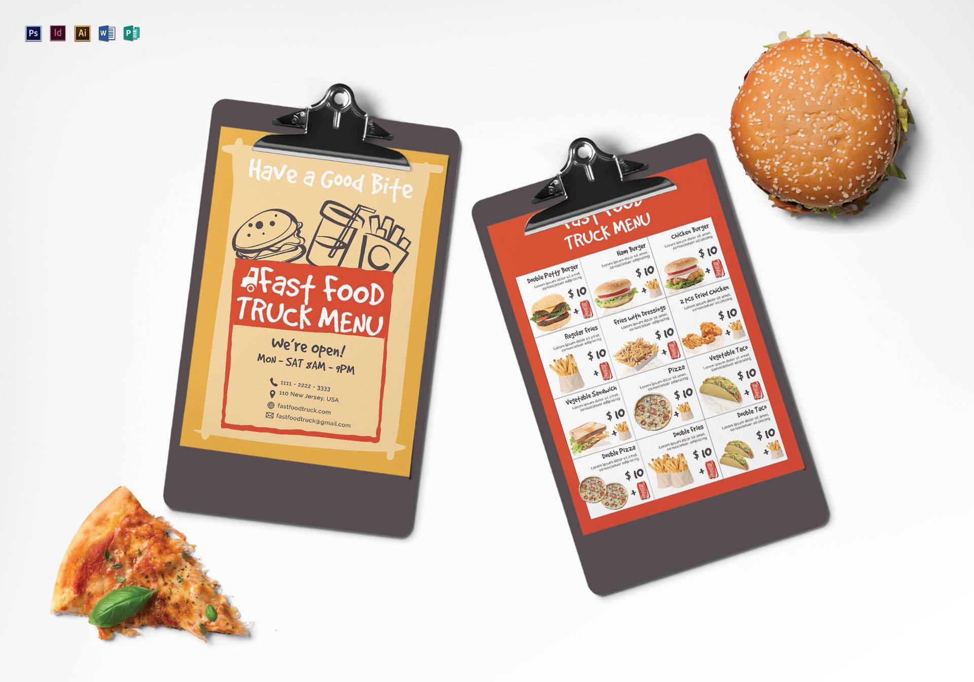 fast food burger menu sample1