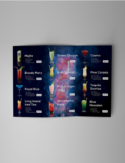 fiery trifold cocktail menu layout