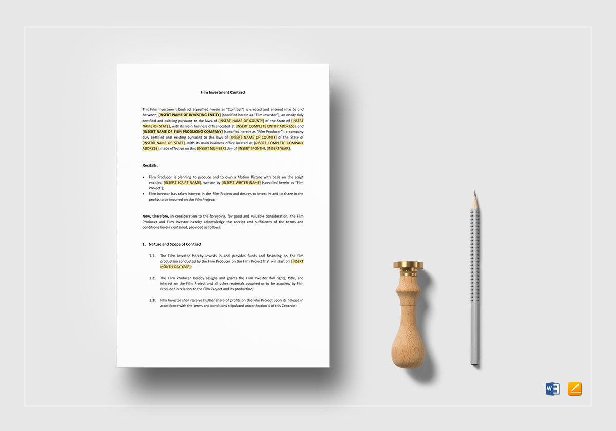 film investment contract mockup