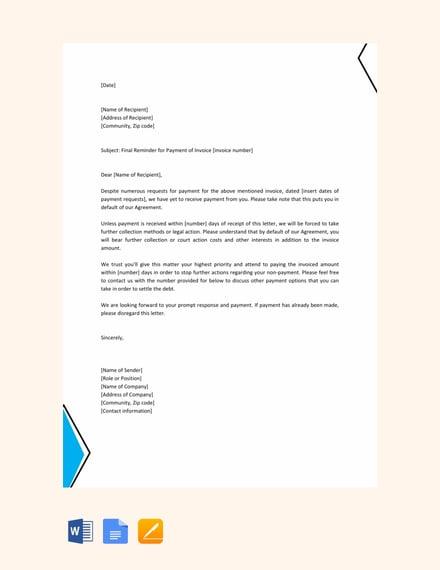 final reminder letter