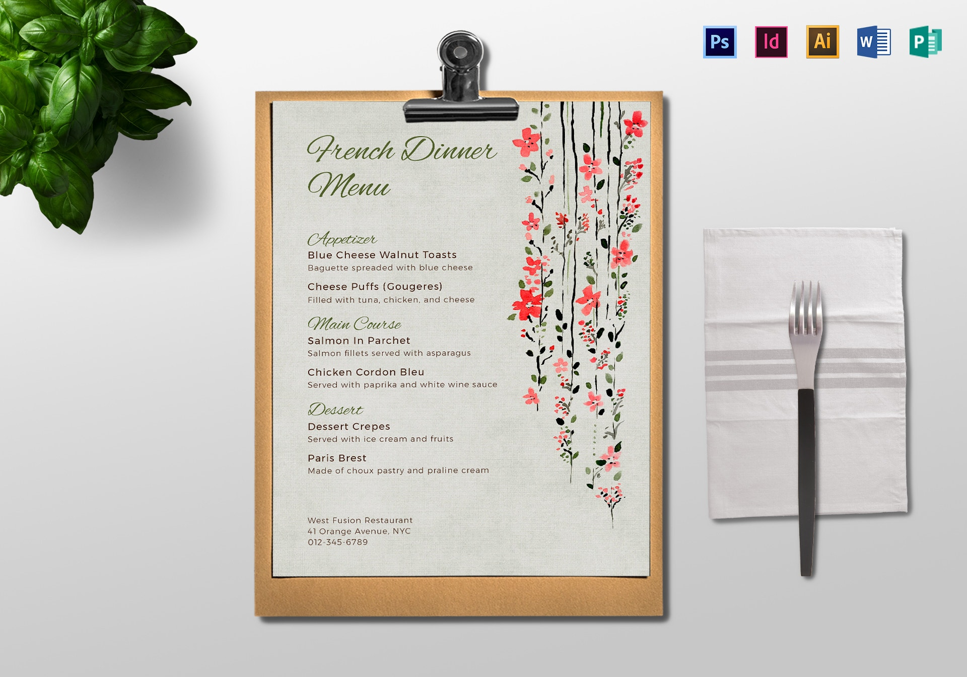 floral french dinner menu layout