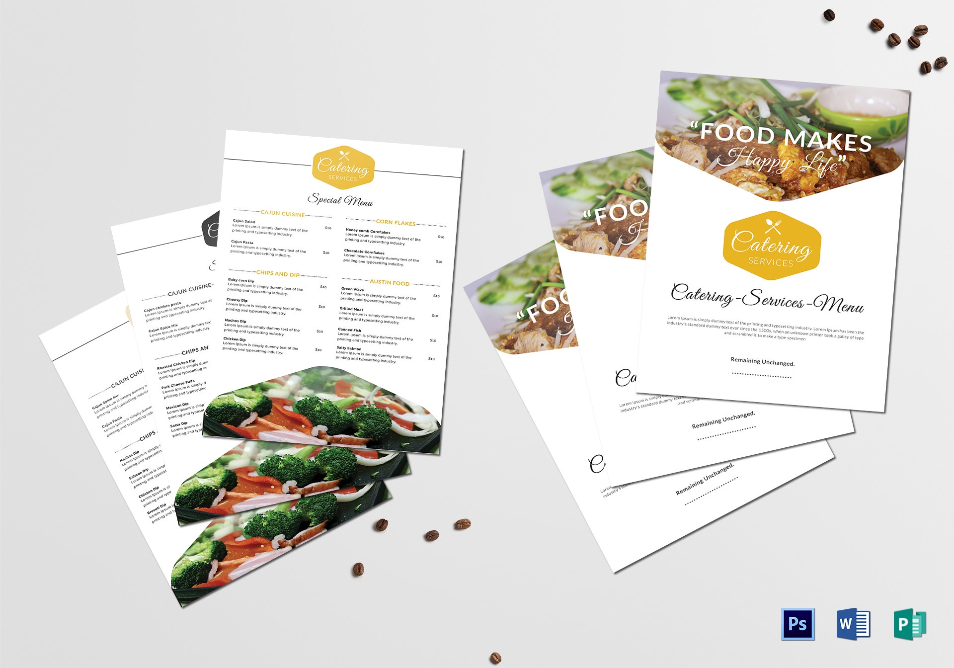 food catering services menu sample