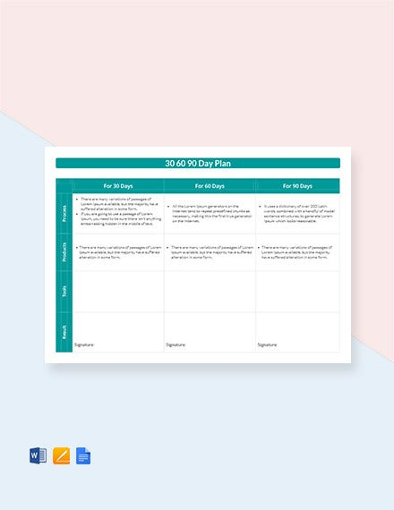 Free 30 60 90 Day Plan Template