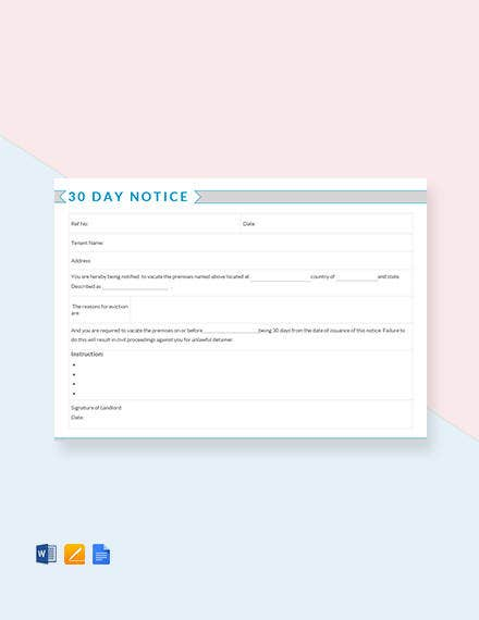 free 30 day notice template