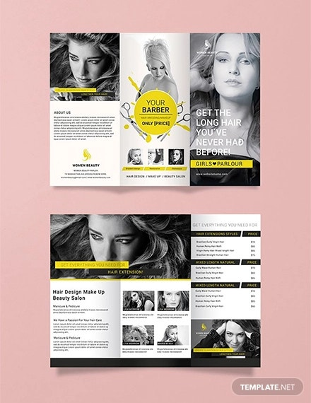 free a3 beauty parlor tri fold brochure template